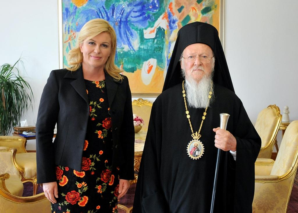 Патријарх васељенски на пријему код председнице Хрватске