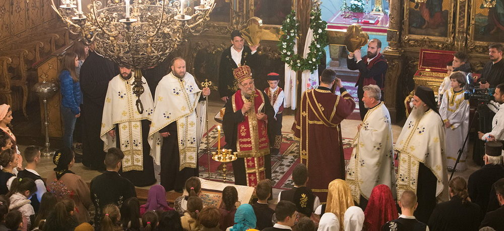 Освећење Часног Крста за храм Светог оца Николаја у Шиду