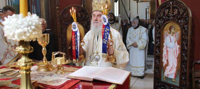 Патријарх српски г. Иринеј богослужио у храму Светог Преображења Господњег на Пашином брду
