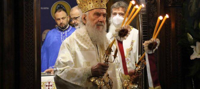 Патријарх српски г. Иринеј богослужио у храму Светог архангела Гаврила у Београду
