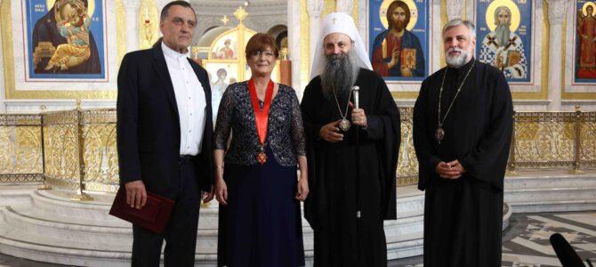 Патријарх српски Порфирије уручио орден Светог Саве проф. др Надежди Басари